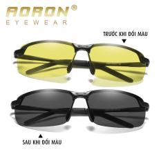 KÍNH NAM, Mắt kính đổi màu đi ngày đêm Cao cấp Aoron A3043, gọng nhôm meggie siêu nhẹ, mắt phân cực chống UV 400 kính ngày đêm