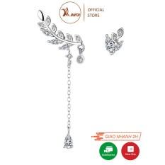 Bông tai dáng dài đính đá xinh xắn thanh tao hình giọt sương rơi nhánh lá ANTA Jewelry – ATJ7001