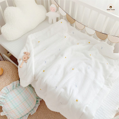 Bộ ga bọc nệm cũi, gối, chăn/mền cho bé, vải gạc 6 lớp bông hữu cơ