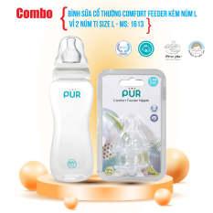 Combo bình sữa cổ thường Comfort Feeder 250ml + vỉ 2 núm size L