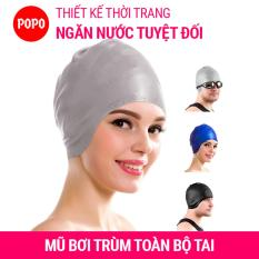 Nón bơi, Mũ bơi TRÙM TAI, chất liệu silicone đàn hồi, thiết kế thời trang cao cấp CA33 POPO Collection
