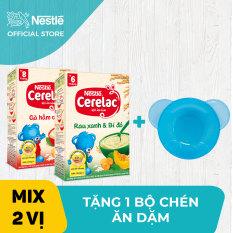 Bộ 2 hộp Bột ăn dặm Nestlé Cerelac 200g Gà Hầm Cà Rốt và Rau xanh bí đỏ + Tặng 1 bộ chén ăn dặm