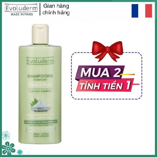 Dầu gội dành cho tóc dầu và dễ bị dầu Evoluderm chiết xuất Đất Sét Trắng và cây Tầm Ma Evoluderm Shampoing Purifiant Rituel d'Argile 400ml