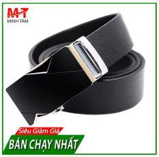 Thắt Lưng/ Dây Nịt Nam Da Bò 1 Lớp, Kiểu Khóa Tự Động Thời Trang Nam NHT-193-VN037 (Bạc Đen)
