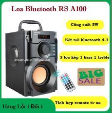 Loa Bluetooth hàng bãi nội địa nhật CÔNG SUẤT LỚN Loa Bluetooth RS A100 – Dung Lượng Pin Lớn, Thiết Kế Hộp Cộng Hưởng Âm Tạo Âm Thanh 3D Sôi Động, Loa A100 Trang Bị 3 Loa Kép,1 Bass + 2Treble – Loa Mini,Loa Nghe Nhạc Giá Rẻ SẬP SÀN