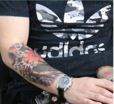Hình xăm dán tatoo cá chép vàng may mắn kích thước 15 x 21 cm – miếng dán hình xăm đẹp dành cho nam