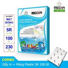 Giấy In Ảnh Media 1 Mặt Bóng (Glossy) 5R (13 x 18cm) 230gsm 100 Tờ + Màn Ép Plastic 100 Tờ