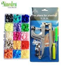 Kìm bấm cúc nhựa 3 cỡ T3/T5/T8 kèm bộ 150 bộ cúc 15 màu- Ninedra