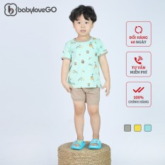 Đồ Bộ Bé Trai Bé Gái Babylovego Cộc Tay In Họa Tiết Hoạt Hình Chất Liệu Cotton Sợi Thoáng Mát Co Giãn Cho Trẻ Từ 8-18kg BLB01