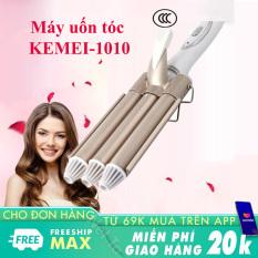 Máy uốn tóc đa năng Kemei-1010 ba trục uốn chuyên nghiệp, chuyên dùng uốn cong tóc hay uốn xoăn, uốn lọn, gợn sóng, uốn cụp đuôi thích hợp sử dụng gia đình và salon