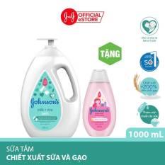 Sữa tắm Johnson's chứa sữa và gạo 1000ml Tặng Dầu gội óng mượt cho bé Johnson's Shiny Drops 200ml – 540019979