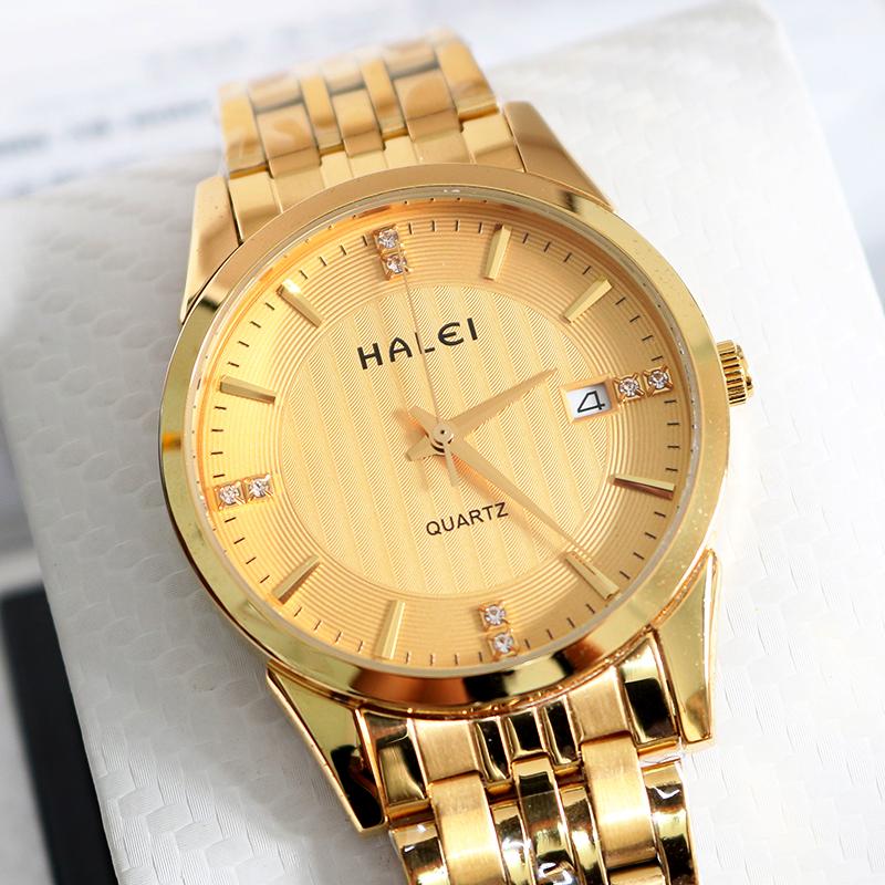 Đồng hồ nam dây thép không gỉ cao cấp HALEI 4272 (vàng)