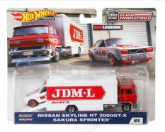 Ô tô mô hình tỉ lệ 1:64 Hot Wheels Car Culture Team Transport Sakura Sprinter & Nissan Skyline HT 2000GT-X