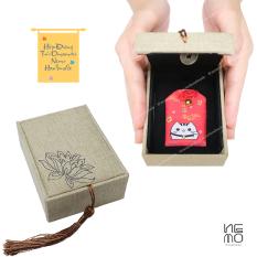 Hộp Đựng Túi Omamori bằng gỗ bọc vải, hộp rỗng không bao gồm túi Omamori NemoHandmade – HVOM