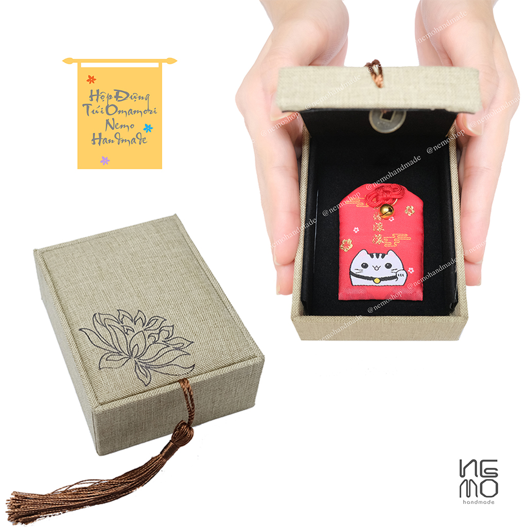 Hộp Đựng Túi Omamori bằng gỗ bọc vải, hộp rỗng không bao gồm túi Omamori NemoHandmade - HVOM