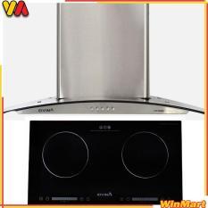 COMBO Máy hút mùi kính cong CIVINA CV-3388C + Bếp điện từ đôi CIVINA CV-626