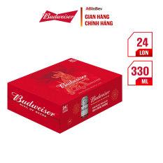 Thùng 24 Lon Bia Budweiser Phiên Bản Tết 2021 (330ml/lon)