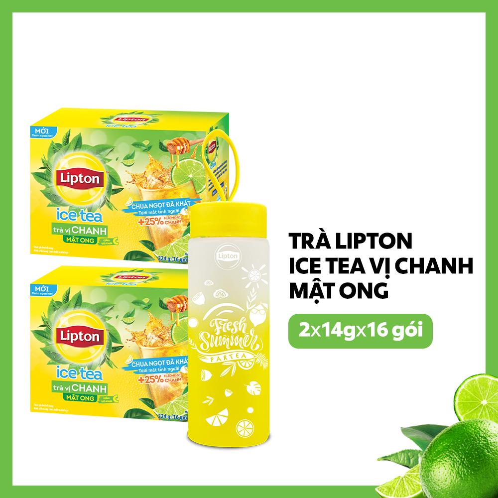 Trà Lipton Ice tea vị chanh mật ong 2 x 14g x 16 gói + 1 bình thủy tinh cao cấp