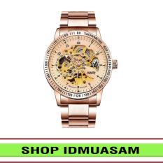 [Có video quay thật] Đồng hồ cơ tự động dây thép không gỉ Nary IDMUASAM 6097 (Vàng)