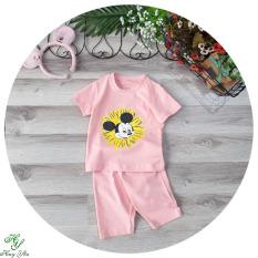 Bộ đồ tay ngắn chuột chuột mecky hoa cúc bé trai,be gái,màu cho bé-DBBEGAI19.