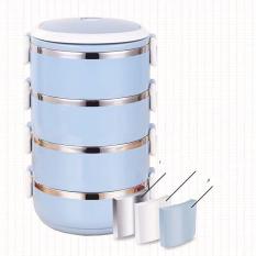 Cặp lồng giữ nhiệt từ 4 ngăn, hộp đựng cơm giữ nhiệt vỏ nhựa ruột INOX