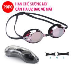 Kính bơi người lớn kính bơi thi đấu chuyên nghiệp POPO 1154G mắt kính siêu bền tráng gương nhỏ gọn, chống tia UV, chống lóa kiếng bơi nam, nữ kính bơi trẻ em trên 8 tuổi