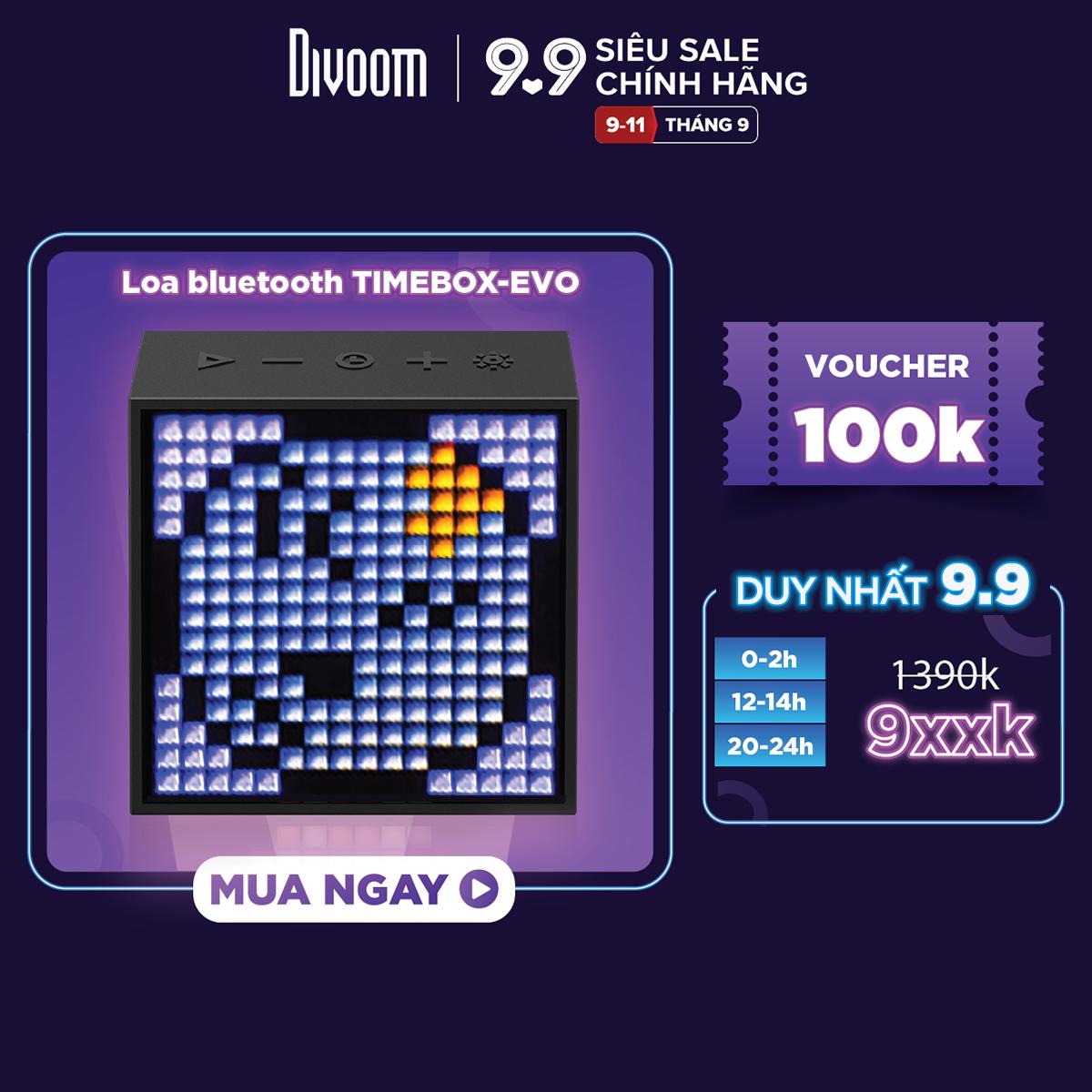 [SĂN VOUCHER 7%] Loa bluetooth thông minh Divoom Timebox-Evo, màn hình LED 256 Full RGB, đồng hồ báo thức, ghi âm