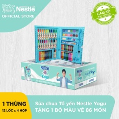 [Tăng 1 bộ bút chì 86 màu] Thùng 48 Hộp Sữa Chua Uống Dinh Dưỡng Nestle YOGU (115ml/hộp)