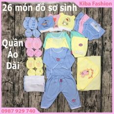 combo 26 món đồ cho bé sơ sinh ( 3 bộ quần áo DÀI TAY + 3 mũ, nón + 10 tã dán + 3 cặp bao tay, 3 bao chân +1 chăn ủ )