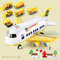Máy bay đồ chơi cho bé khổng lồ kèm 6 xe oto kim loại STORAGE AIRCRAFT chạy đà phát nhạc Tiếng Anh có thể lắp ráp