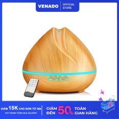 Máy xông tinh dầu búp sen vân gỗ 500ml có remote led 7 màu tự động tắt khi hết nước Venado khuếch tán hương thơm tinh dầu, đuổi muỗi