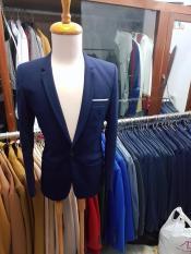 Bộ vest nam ôm body màu xanh đen đậm chất vải dày mịn co giãn
