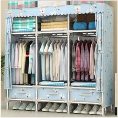 Tủ vải khung thép 3 buồng 2 buồng đựng quần áo siêu bền khung thép cỡ lớn