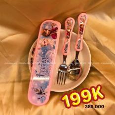Set muỗng và nĩa inox kèm hộp đựng hình công chúa Elsa và Anna Frozen Disney màu hồng cho bé gái ăn uống – DP2126-H