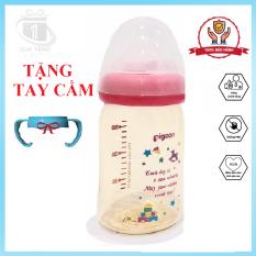 Bình sữa Pigeon cổ rộng nội địa Nhật, đủ màu, đủ size 160ml và 240m, núm ty silicone siêu mềm. [TẶNG TAY CẦM DỄ THƯƠNG]
