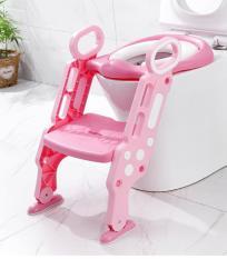Ghế ngồi bồn cầu, nắp bồn cầu có thang đi lên – Dụng cụ thu nhỏ bồn cầu có cầu thang gọn nhẹ, tiện lợi, an toàn cho bé