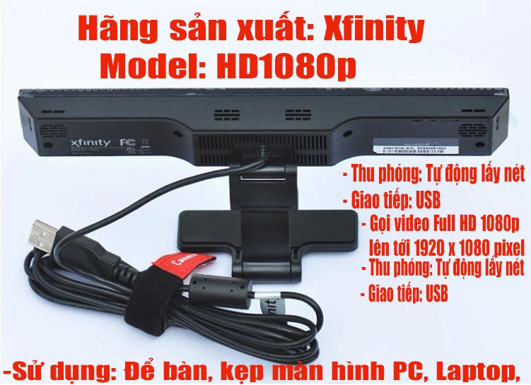 Webcam xfinity chính hãng Mỹ full HD 1080p kèm 4 míc hàng mới tinh gọi Zalo học trên Zoom live youtube face.