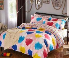 Bộ drap kèm mền cotton lụa nền hồng họa tiết trái tim sắc màu