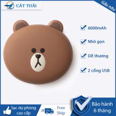 [FREE SHIP] Pin Sạc Dự Phòng Cát Thái 6000mAh FRIEND LINE sạc pin nhanh 2 cổng USB kiểu dáng gấu dễ thương tử dung lượng lớn thiết kế nhỏ gọn