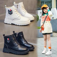 Giày trẻ em boot cao cổ cho bé gái da mềm đi êm phong cách Hàn Quốc sang chảnh