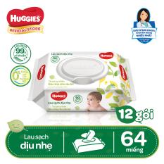 [Giảm 40K đơn 399K] Bộ 12 gói khăn giấy ướt cho trẻ sơ sinh HUGGIES (Gói 64 tờ)