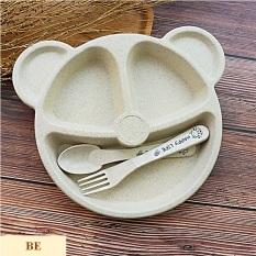 Bộ dĩa ăn lúa mì hình gấu trẻ em kèm muỗng nĩa