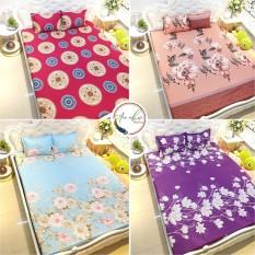 Bộ ga gối 💖An Như💖 drap giường poly, ga trải giường + 2 vỏ gối nằm hoa lá