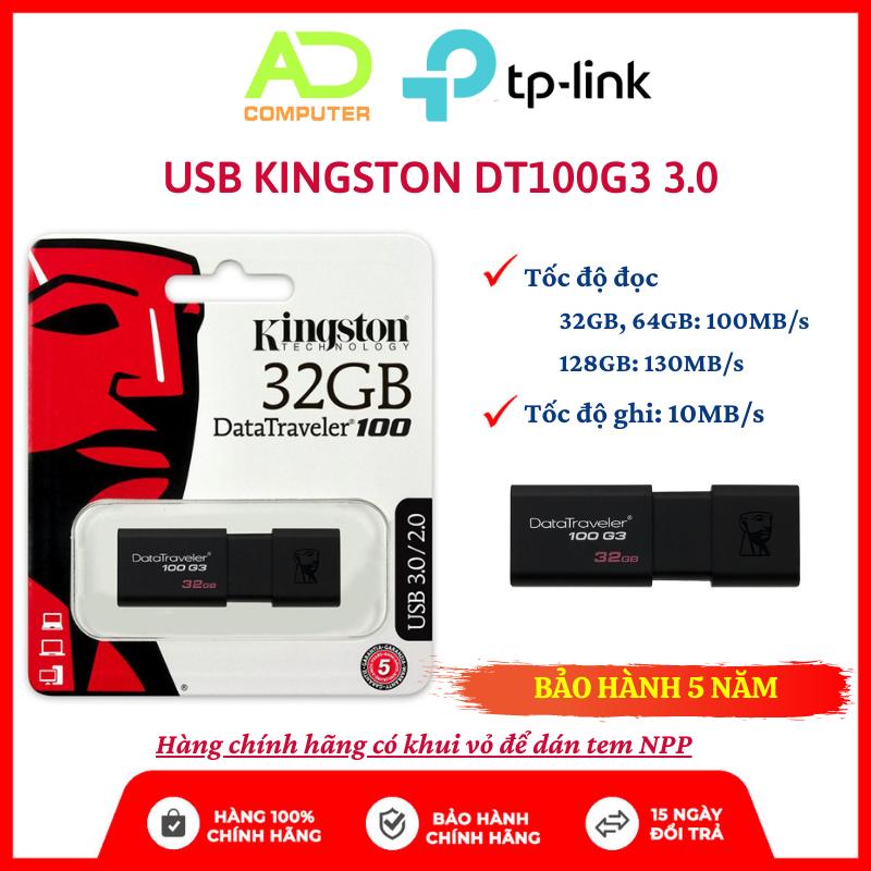 USB Kingston DT100G3 3.0 16GB/32GB/64GB nắp trượt tốc độ tới 100MB/s – BH Chính hãng 5 Năm