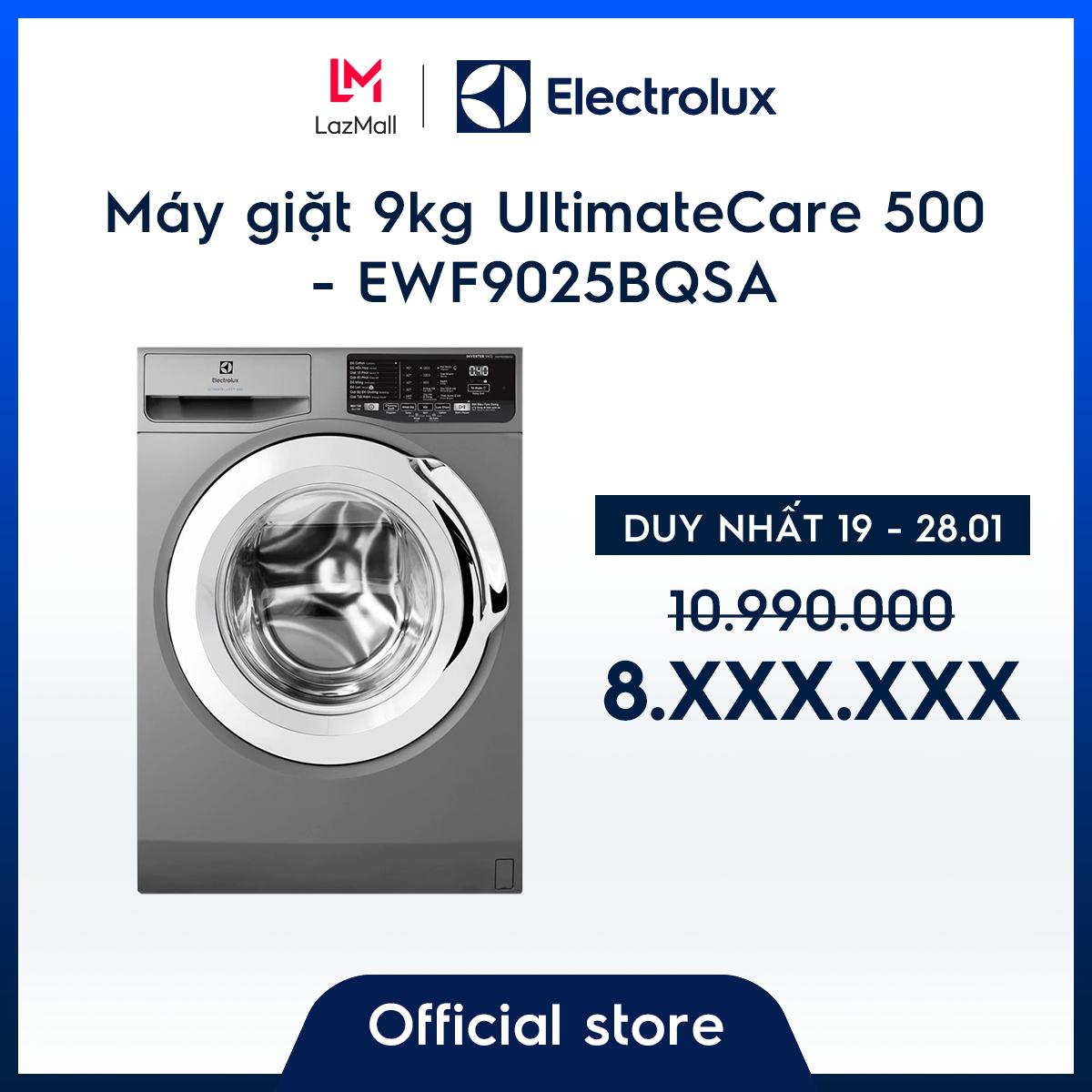 [Miễn phí giao hàng HCM & HN – Miễn phí công lắp đặt chính hãng] Máy giặt 9kg Electrolux EWF9025BQSA -Màu bạc- Diệt khuẩn- Tiết kiệm năng lượng-Chính hãng
