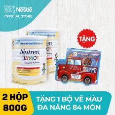 Bộ 2 lon Sản phẩm dinh dưỡng y học 2 lon Nutren Junior cho trẻ từ 1-10 tuổi 800g + Tặng 1 bộ vẽ màu đa năng 84 món cho bé
