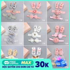 [NHIỀU MÀU – ĐẠI HẠ GIÁ] Bộ 3 món giày, băng đô cho trẻ sơ sinh siêu dễ thương, đồ cho bé gái từ 0-6 tháng