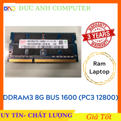 Ram laptop DDR3 8g bus 1600 Hàng Máy Bộ (Pc3-12800)- mới bảo hành 3 năm – 1 Đổi 1 – Chân Vàng Óng Ánh Ram 3 Bus 1600 8g Ram Laptop 8g