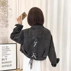 áo khoác jean nữ PHỐI ĐAN DÂY SAU LƯNG màu xám đen SHOP3017