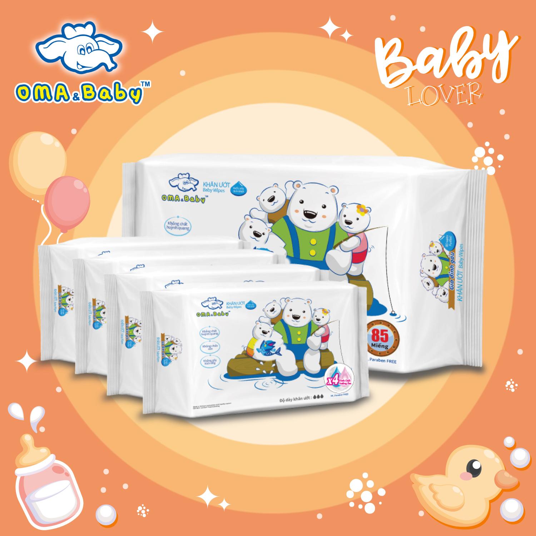 Khăn ướt kháng khuẩn làm sạch tinh khiết dành cho bé Oma Baby - không mùi